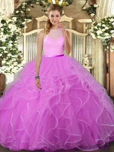 Colorful Floor Length Lilac Quinceanera Dresses Tulle Sleeveless Ruffles