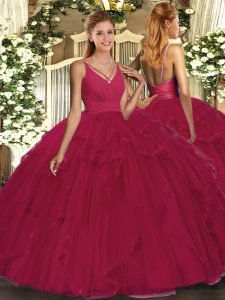 Wine Red Sleeveless Floor Length Ruffles Backless Ball Gown Prom Dress