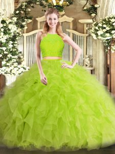 Sweet Yellow Green Zipper Scoop Ruffles Vestidos de Quinceanera Tulle Sleeveless