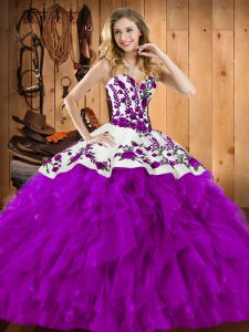 High End Sweetheart Sleeveless Quinceanera Gown Floor Length Embroidery and Ruffles Eggplant Purple Satin and Organza