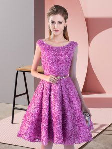 Lilac Prom Party Dress Prom and Party with Belt Scoop Sleeveless Lace Up