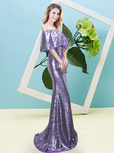 Half Sleeves Zipper Floor Length Sequins Prom Dresses