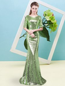 Clearance Half Sleeves Sequined Zipper Prom Dress for Prom and Party
