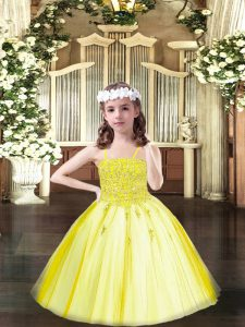Yellow Ball Gowns Spaghetti Straps Sleeveless Tulle Floor Length Lace Up Beading Pageant Dress for Girls