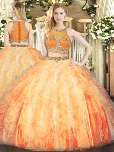 Sexy Orange Red Organza Zipper Scoop Sleeveless Floor Length Quinceanera Gown Beading and Ruffles