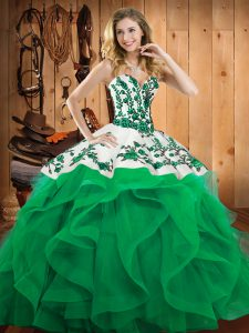 Exceptional Turquoise Sleeveless Embroidery and Ruffles Floor Length Quinceanera Dress