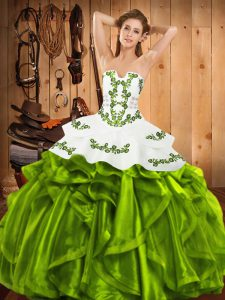 Pretty Strapless Neckline Embroidery and Ruffles Quinceanera Dresses Sleeveless Lace Up