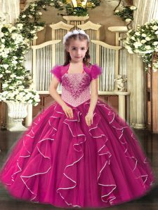 Fuchsia Straps Neckline Embroidery and Ruffles Little Girls Pageant Dress Sleeveless Lace Up