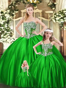 Beauteous Green Strapless Lace Up Beading Sweet 16 Quinceanera Dress Sleeveless