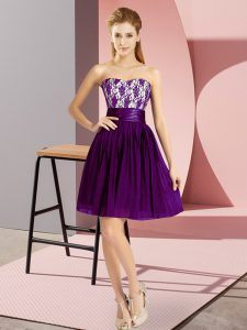 Colorful Mini Length Zipper Evening Dress Purple for Prom and Party with Lace