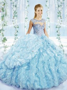 Eye-catching Blue Organza Lace Up Sweetheart Sleeveless Sweet 16 Dresses Beading and Ruffles and Pick Ups