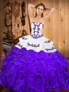 Custom Fit White And Purple Ball Gowns Satin and Organza Strapless Sleeveless Embroidery and Ruffles Floor Length Lace Up Quinceanera Dress