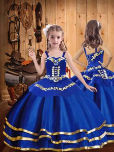 Great Straps Sleeveless Glitz Pageant Dress Floor Length Beading and Embroidery and Ruffled Layers Royal Blue Organza