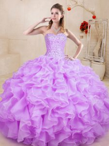 Stunning Floor Length Lace Up Sweet 16 Quinceanera Dress Lilac for Sweet 16 and Quinceanera with Beading and Ruffles