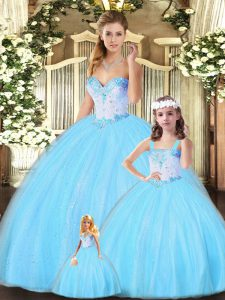 Custom Fit Aqua Blue Ball Gowns Beading Sweet 16 Dresses Lace Up Tulle Sleeveless Floor Length