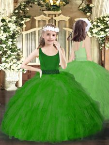 Scoop Sleeveless Zipper Pageant Dress Toddler Green Tulle