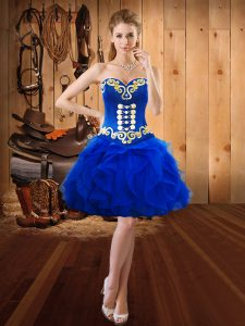 Gorgeous Royal Blue Sleeveless Organza Lace Up Prom Evening Gown for Prom and Party