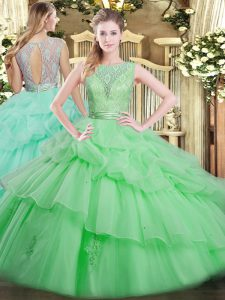 Apple Green Scoop Neckline Beading and Ruffled Layers Vestidos de Quinceanera Sleeveless Backless