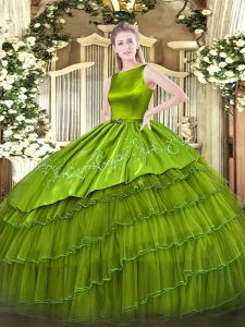 Fabulous Olive Green Ball Gowns Embroidery and Ruffled Layers 15 Quinceanera Dress Lace Up Satin and Organza Sleeveless Floor Length