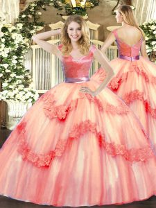 Deluxe Watermelon Red Sweet 16 Quinceanera Dress Military Ball and Sweet 16 with Beading and Appliques V-neck Sleeveless Zipper
