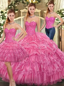 Most Popular Sleeveless Lace Up Floor Length Beading and Ruffles Quinceanera Gown