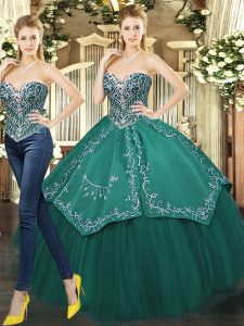 Dark Green Ball Gowns Tulle Sweetheart Sleeveless Beading and Appliques Floor Length Lace Up Vestidos de Quinceanera