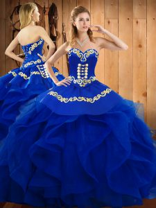 Extravagant Blue Vestidos de Quinceanera Military Ball and Sweet 16 and Quinceanera with Embroidery and Ruffles Sweetheart Sleeveless Lace Up