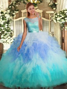 Multi-color Ball Gowns Lace and Ruffles Vestidos de Quinceanera Backless Tulle Sleeveless Floor Length