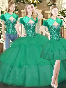 Fine Turquoise Lace Up Sweetheart Beading and Ruffled Layers Ball Gown Prom Dress Tulle Sleeveless