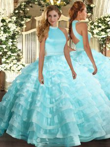 Aqua Blue Ball Gown Prom Dress Military Ball and Sweet 16 and Quinceanera with Beading and Ruffled Layers Halter Top Sleeveless Backless