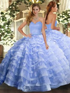 Exceptional Ball Gowns Vestidos de Quinceanera Lavender Sweetheart Organza Sleeveless Floor Length Lace Up