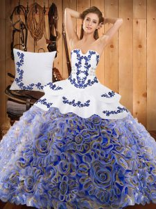 Sleeveless Sweep Train Embroidery Lace Up Sweet 16 Dresses