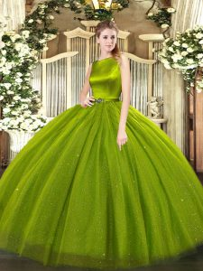 Sleeveless Floor Length Belt Clasp Handle Quinceanera Gown with Olive Green