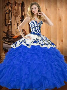 Nice Sleeveless Satin and Organza Floor Length Lace Up Sweet 16 Quinceanera Dress in Blue with Embroidery and Ruffles