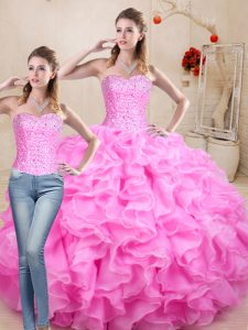 Admirable Ball Gowns 15 Quinceanera Dress Rose Pink Sweetheart Organza Sleeveless Floor Length Lace Up