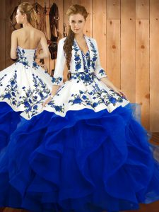 Floor Length Lace Up 15 Quinceanera Dress Blue for Military Ball and Sweet 16 and Quinceanera with Embroidery and Ruffles