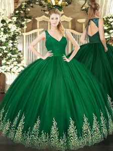 Smart Sleeveless Floor Length Beading and Appliques Zipper Ball Gown Prom Dress with Dark Green