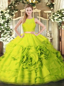 Yellow Green Sleeveless Tulle Zipper Sweet 16 Dress for Military Ball and Sweet 16 and Quinceanera