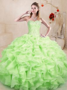 Customized Organza Sweetheart Sleeveless Lace Up Beading and Ruffles Sweet 16 Dresses in Yellow Green