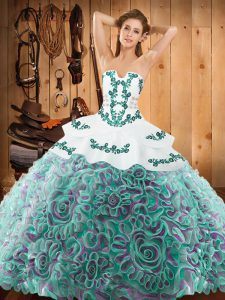 Super Multi-color Ball Gowns Strapless Sleeveless Satin and Fabric With Rolling Flowers With Train Sweep Train Lace Up Embroidery Sweet 16 Dress