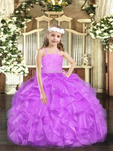Affordable Lavender Ball Gowns Organza Straps Sleeveless Beading and Lace and Ruffles Floor Length Zipper Pageant Dresses