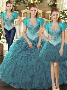 Fantastic Teal Tulle Lace Up Straps Sleeveless Floor Length Sweet 16 Quinceanera Dress Beading and Ruffles