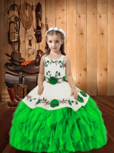 Latest Green Ball Gowns Organza Straps Sleeveless Embroidery and Ruffles Floor Length Lace Up Custom Made Pageant Dress