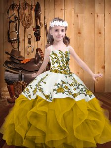 Gold Sleeveless Organza Lace Up Kids Formal Wear for Sweet 16 and Quinceanera