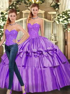 Fantastic Eggplant Purple Sleeveless Organza Lace Up Quinceanera Dresses for Military Ball and Sweet 16 and Quinceanera