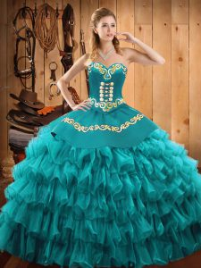 Custom Design Teal Ball Gowns Embroidery and Ruffled Layers Quinceanera Gowns Lace Up Satin and Organza Sleeveless Floor Length