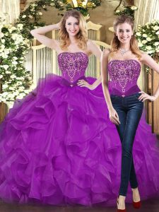 Colorful Purple Ball Gowns Beading and Ruffles Ball Gown Prom Dress Lace Up Organza Sleeveless Floor Length