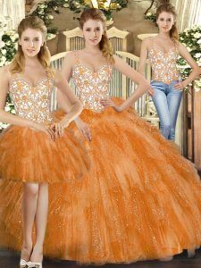 Orange Red Three Pieces Organza Straps Sleeveless Beading and Ruffles Floor Length Lace Up Sweet 16 Quinceanera Dress