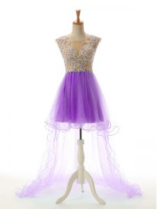 Exceptional Eggplant Purple Backless Evening Dress Appliques Sleeveless High Low