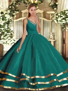 Attractive Turquoise Ball Gowns Tulle V-neck Sleeveless Ruching Floor Length Backless Quinceanera Dress